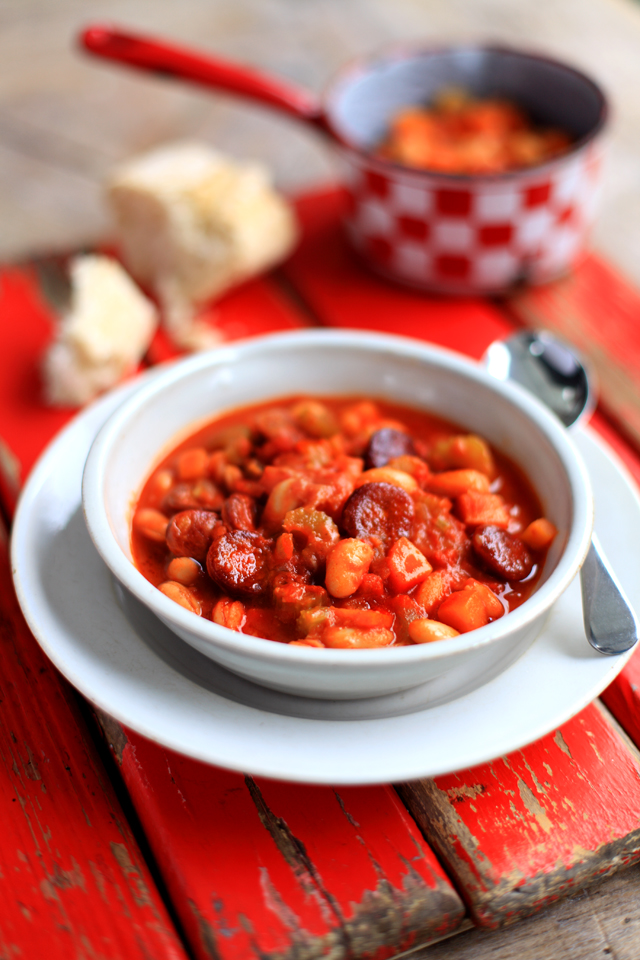 Tomato, Chorizo & Chickpea Soup | DonalSkehan.com, A filling soup with the warming hum of spice.