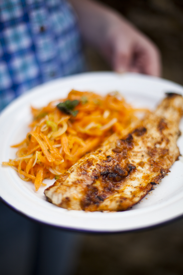 Harissa Fish with Carrot, Mint and Spring Onion Salad | DonalSkehan.com, The perfect light lunch!