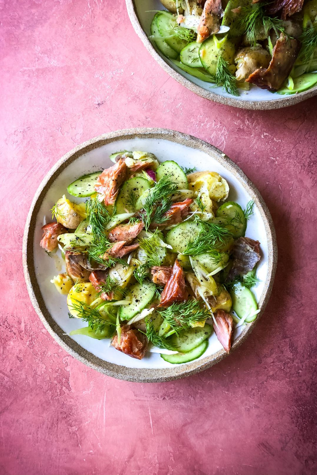 Hot Smoked Salmon & Potato Salad with Lemon Creme Fraiche Dressing | DonalSkehan.com