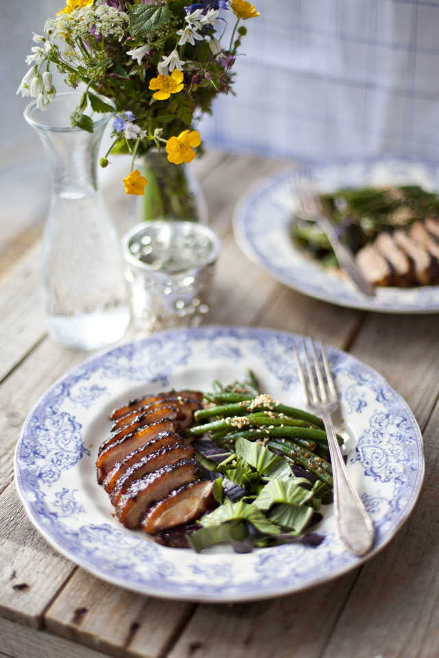 Crispy Sticky Duck with Green Beans and a Pak Choy Sesame Salad ...