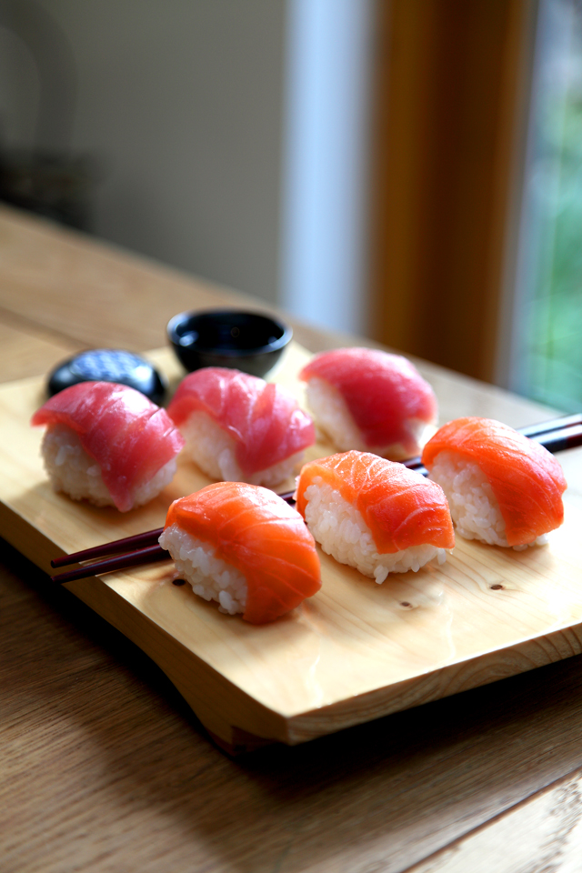 Salmon and Tuna Nigiri | DonalSkehan.com, Sushi time!