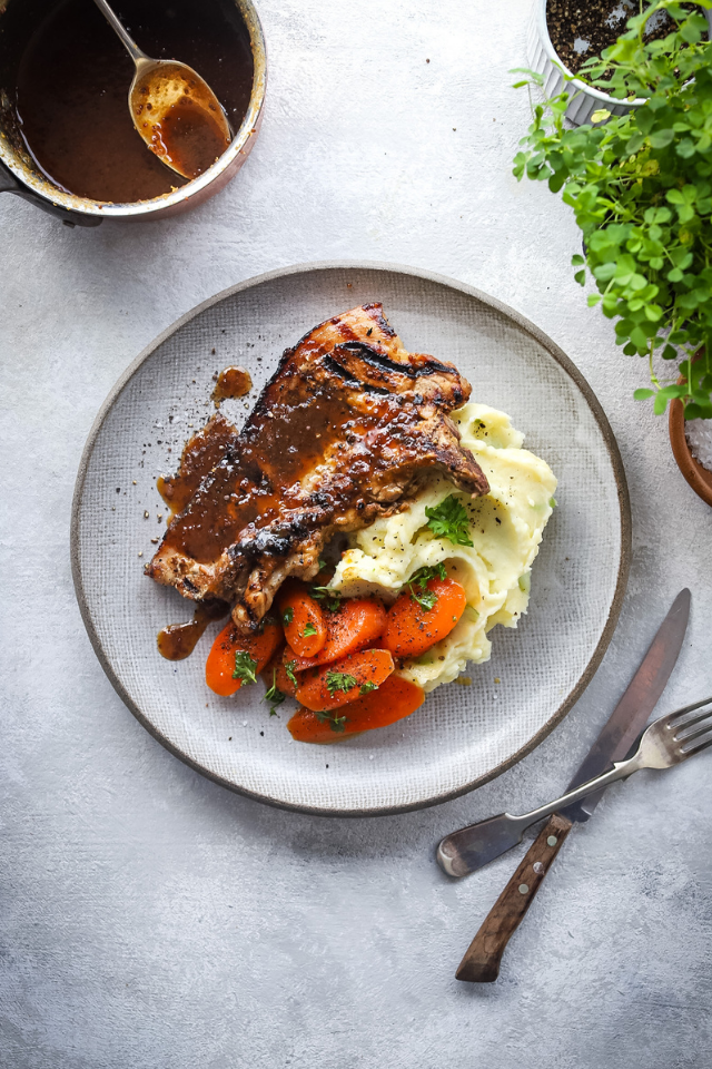 Irish Whiskey and Honey Glazed Pork Chops with Champ Mash and Buttery Herb Carrots | DonalSkehan.com