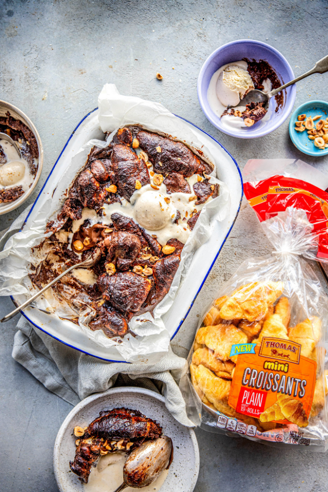 Chocolate & Hazelnut Lava Cake Mini Croissant Pudding | DonalSkehan.com