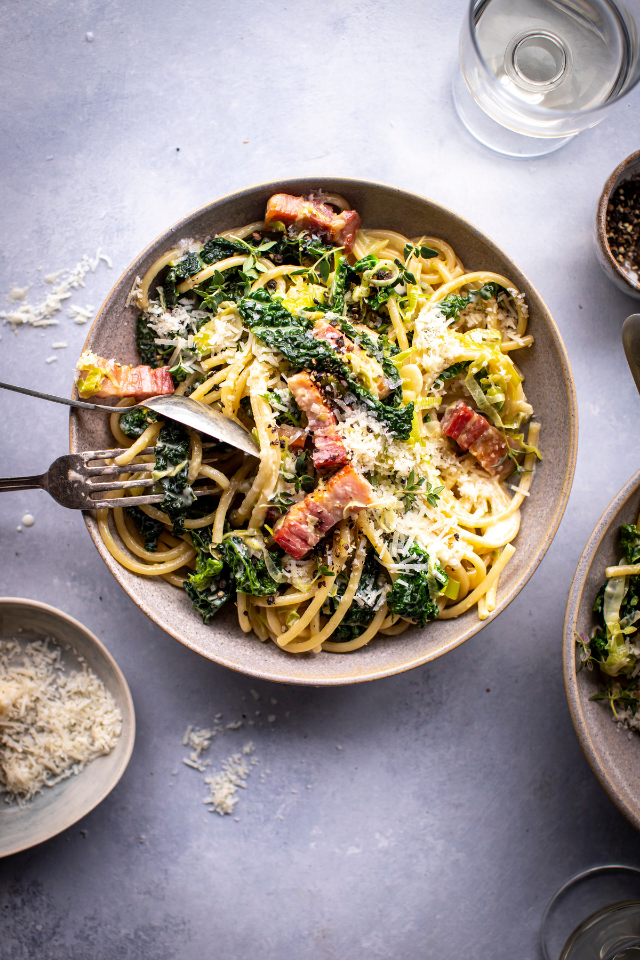 Creamy Leek & Savoy Cabbage & Pancetta Pasta | DonalSkehan.com