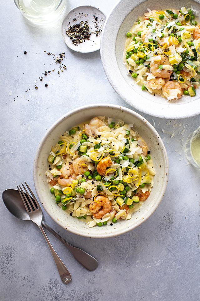 Orzo with Lemon, Courgette, Peas & Prawns | DonalSkehan.com