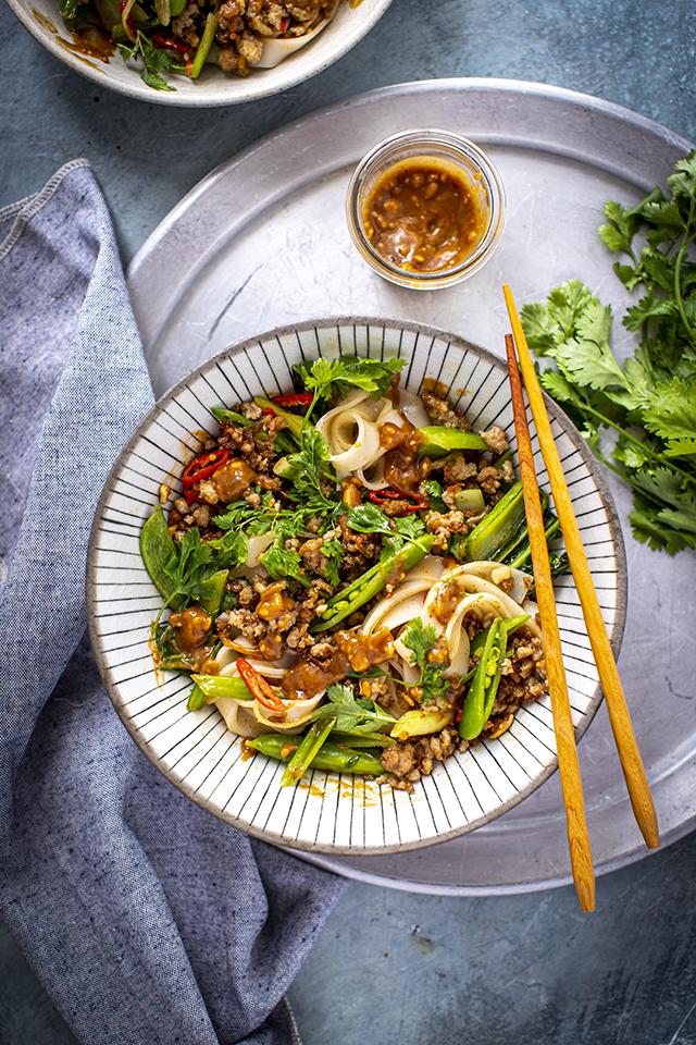 Peanut Butter Satay Pork Noodles | DonalSkehan.com