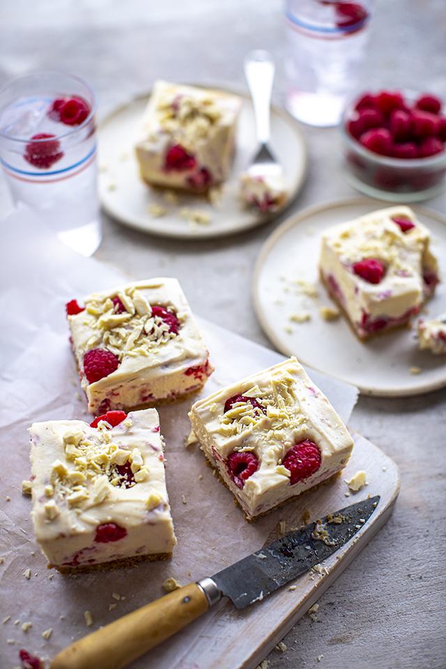 Raspberry & White Chocolate Cheesecake Bars | DonalSkehan.com