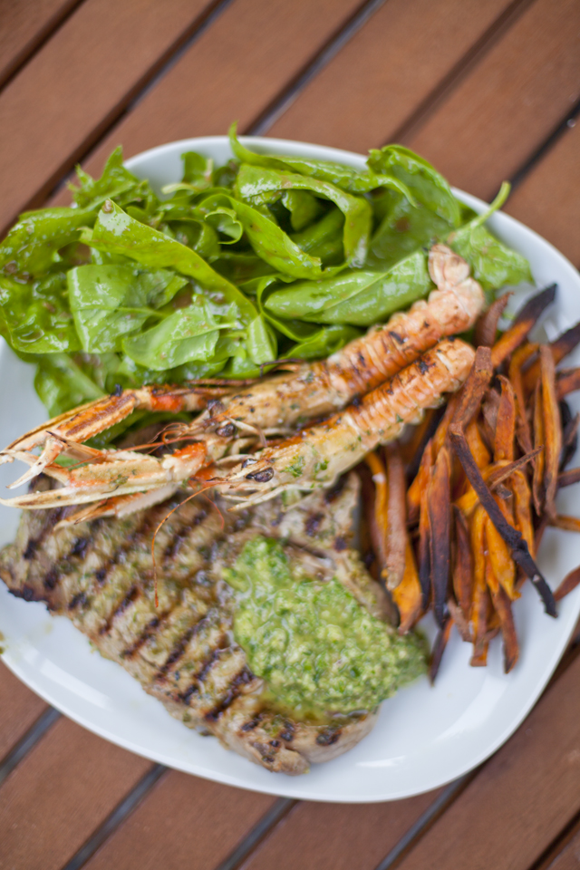 Chimichurri Surf and Turf with Skinny Sweet Potato Chips | DonalSkehan.com, Combining land and sea in tasty harmony!
